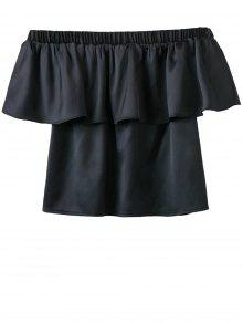 Off The Shoulder Flouncing Blouse - Black L