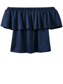 Buy Shoulder Flouncing Blouse - DEEP BLUE S