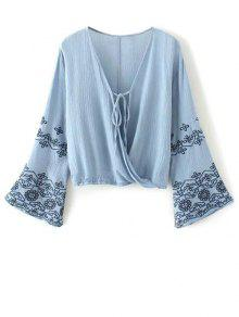 String Flare Sleeve Embroidered Blouse - Blue S