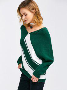 Raglan Sleeve V Neck Pullover Sweater BLACKISH GREEN: Sweaters XL ...