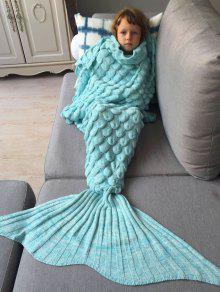 محبوك حورية البحر بطانية للأطفال - أزرق سماوي