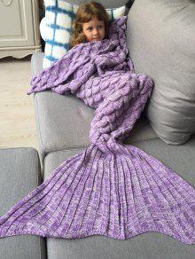 محبوك حورية البحر بطانية للأطفال - أرجواني