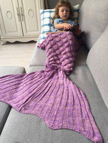محبوك حورية البحر بطانية للأطفال - وردي بنفسجي
