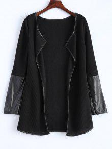 PU Leather Insert Long Sleeve Cardigan - Black M