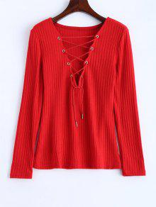 Ribbed Knit Lace Up Jumper - Red Xl