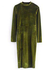 Velours Vintage Robe Fendue - Vert Olive   S