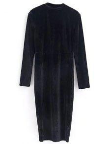 Velours Vintage Robe Fendue - Noir S