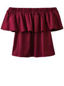 Buy Shoulder Flouncing Blouse - WINE RED L