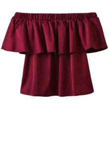 Off The Shoulder Flouncing Blouse - Wine Red S