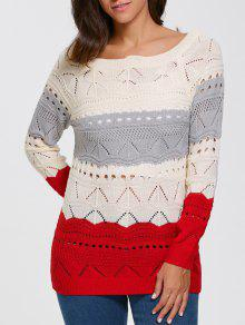 Pullover Hollow Out Color Block Sweater - Palomino S
