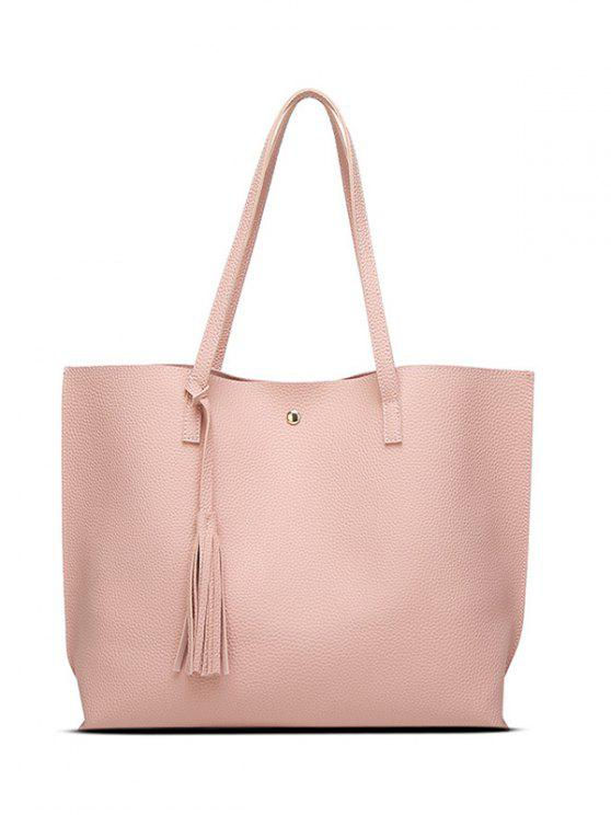 latest Textured PU Leather Tassel Shoulder Bag - PINK