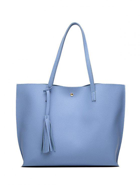 Bolso de hombro de la borla de cuero con textura PU - Azul