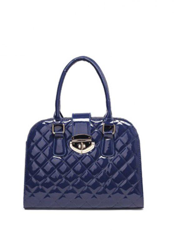 trendy Rhombic Patent Leather Handbag - DEEP BLUE