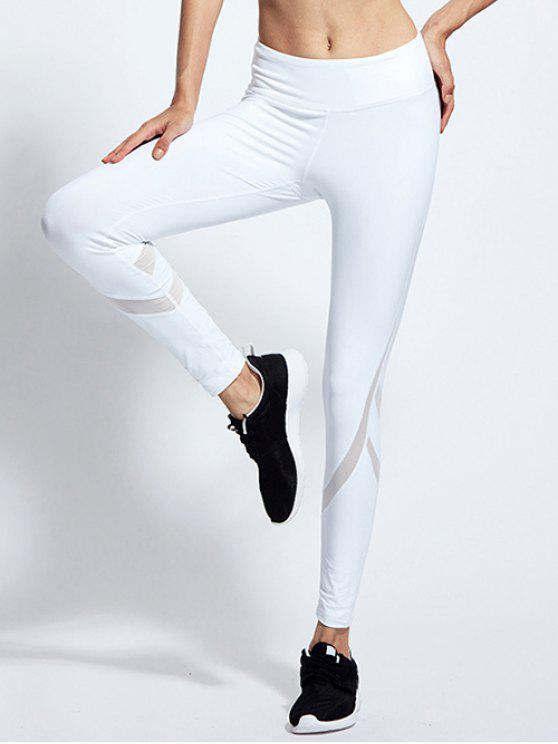 women High Waist Mesh Panel Tight Yoga Leggings - WHITE M