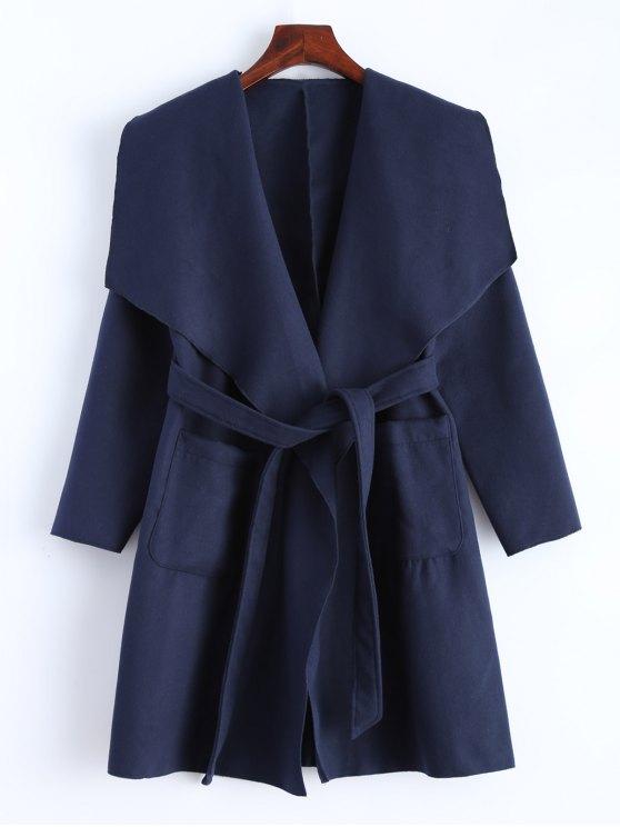 hot Wrap Woolen Coat With Pockets - DEEP BLUE L