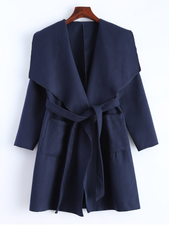 outfit Wrap Woolen Coat With Pockets - DEEP BLUE M