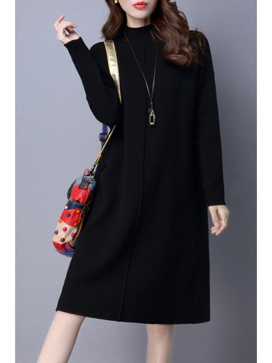 2018 Mock Neck Long Sleeve Knit Jumper Dress In Black M Zaful