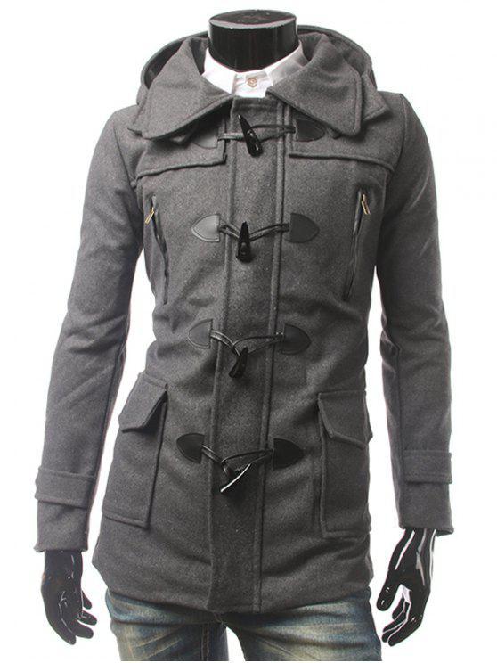 Mantel mit Kapuze Knöpfen Multi Taschen - Grau 2XL