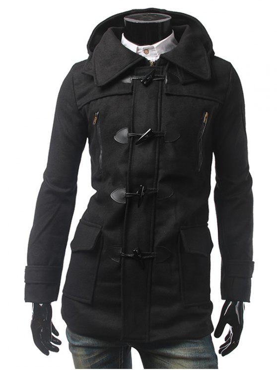 Bouton Multi Pocket Coat Tab Cuff Hooded Toggle - Noir L