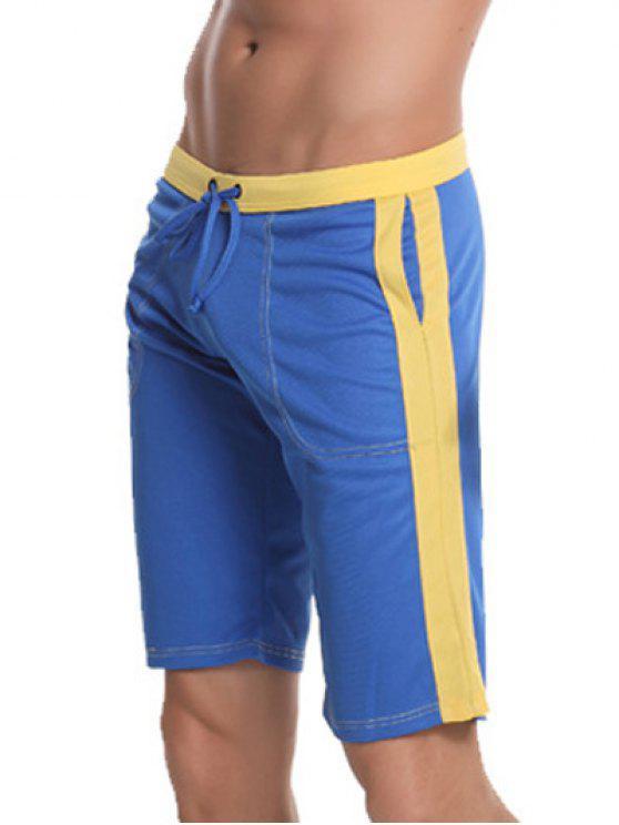 Pocket Shorts Drawstring Panneau latéral Bermuda - Bleu L