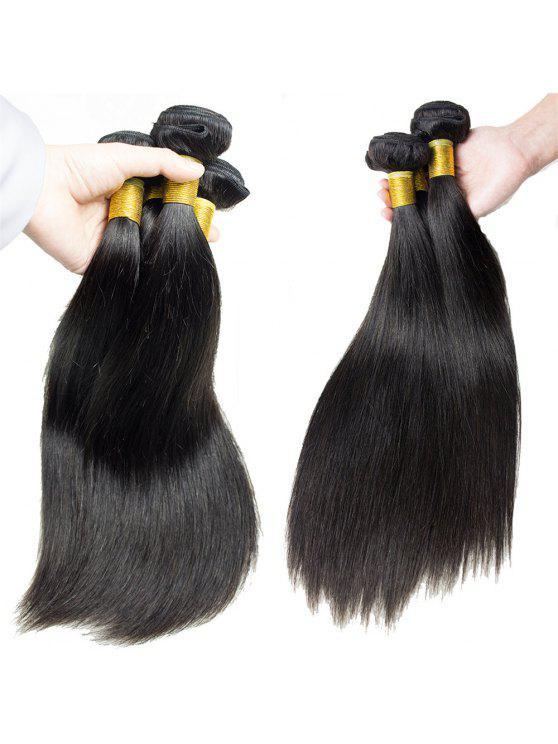 1 قطع مستقيم 7a العذراء البرازيلي نسج الشعر - أسود 22inch
