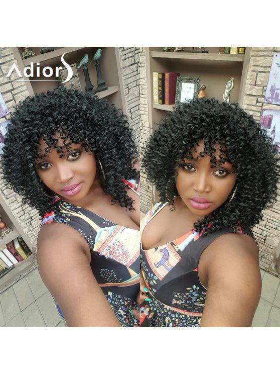 Adiors capelli medio riccio afro laterale Bang parrucca sintetica - Nero