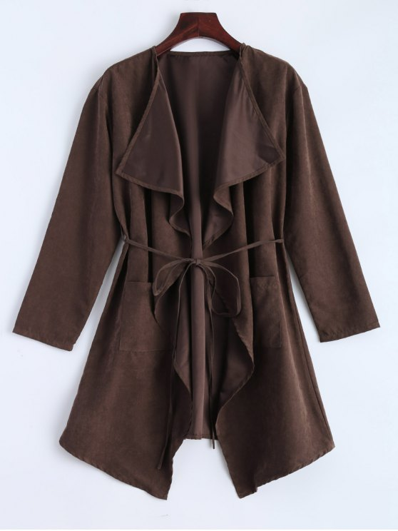 Fuax Suede Duster Coat - Marrone XL