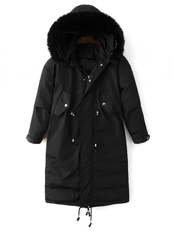 Drawstring Zip-Up Puffer Coat - Preto M