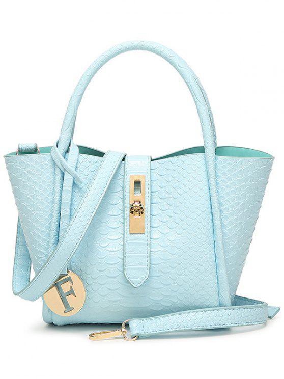 lady Metal Pendant Crocodile Embossed Handbag - BLUE