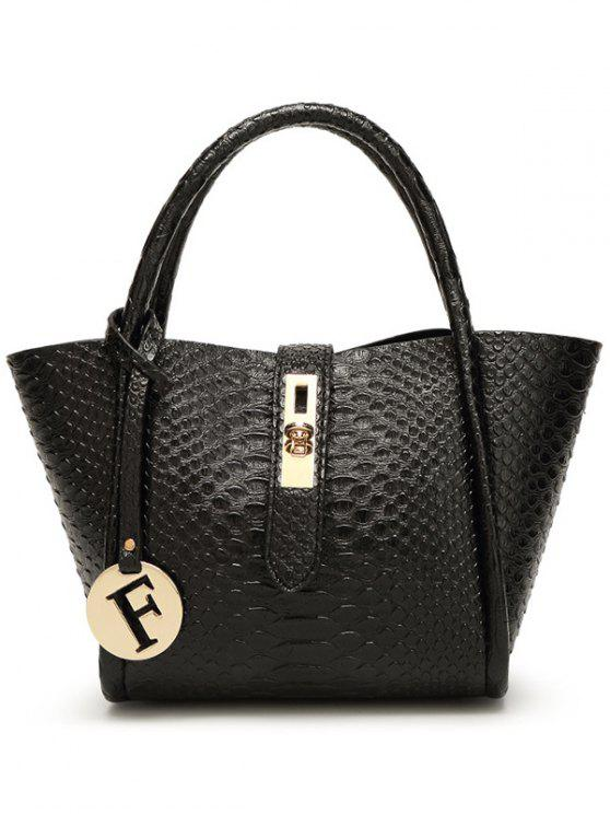 online Metal Pendant Crocodile Embossed Handbag - BLACK