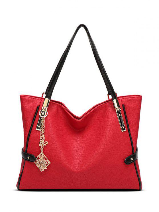 sale Chains Pendant PU Leather Shoulder Bag - RED