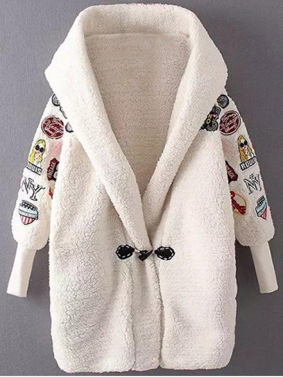 trendy Embroidered Lamb Wool Coat - OFF-WHITE ONE SIZE