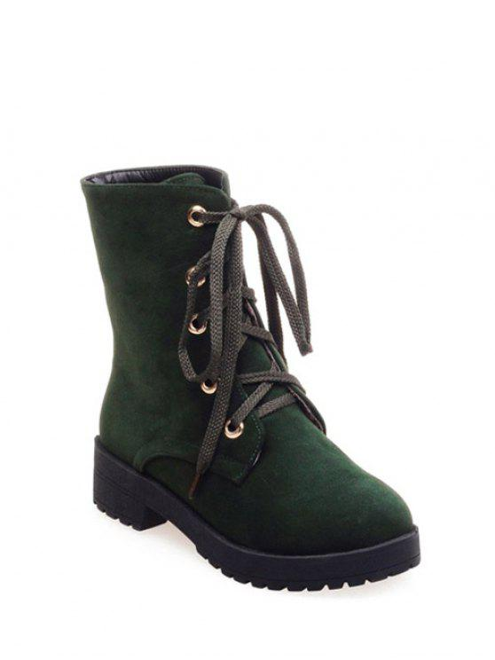sale Dark Color Tie Up Platform Ankle Boots - ARMY GREEN 39