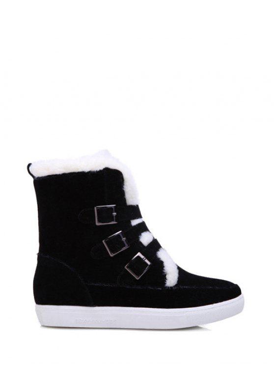 ladies Buckles Faux Fur Flat Heel Short Boots - BLACK 39
