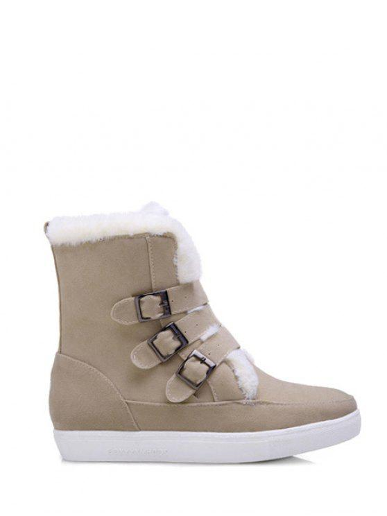 online Buckles Faux Fur Flat Heel Short Boots - OFF-WHITE 39