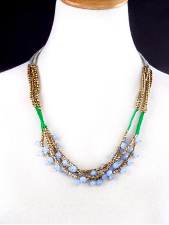 womens Bohemian Beaded Braid Necklace - COLORMIX