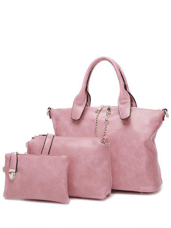 سلاسل معدنية بو حقيبة يد جلدية - زهري