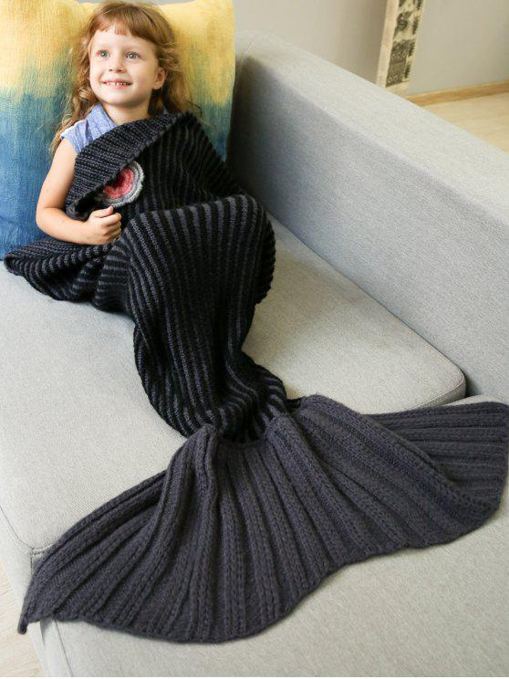 shop Knitted Stripe Bed Mermaid Blanket - BLACK