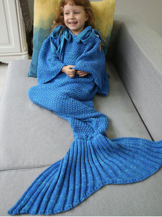 womens Sleeping Bag Knitted Mermaid Blanket - BLUE