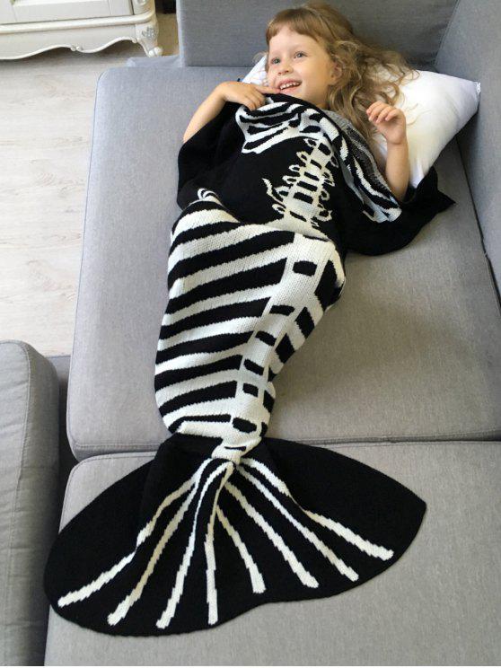 Kintted Fishbone Mermaid Decke für Kinder - Weiß & Schwarz