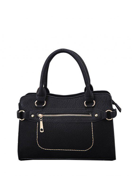 affordable Stitching Zip Textured PU Leather Tote - BLACK