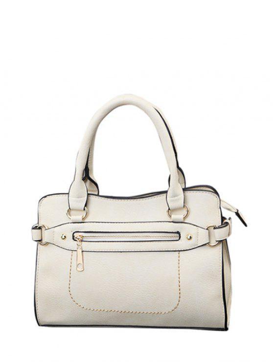 Sac à main en faux cuir texturé embelli zip couture - Blanc