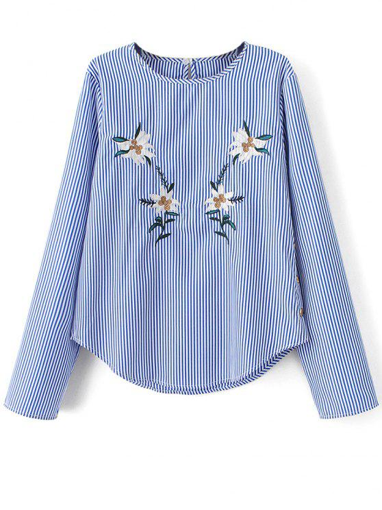 latest Stripe Embroidered Blouse - BLUE S