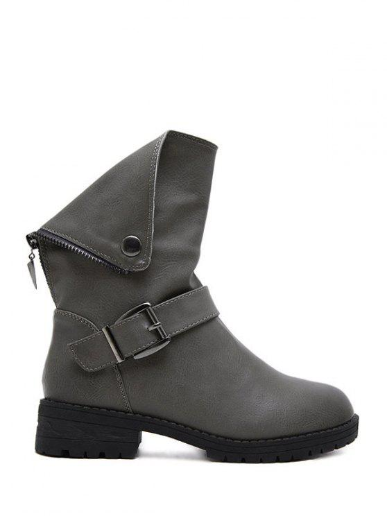 women's Belt Buckle Zipper Short Boots - DEEP GRAY 40