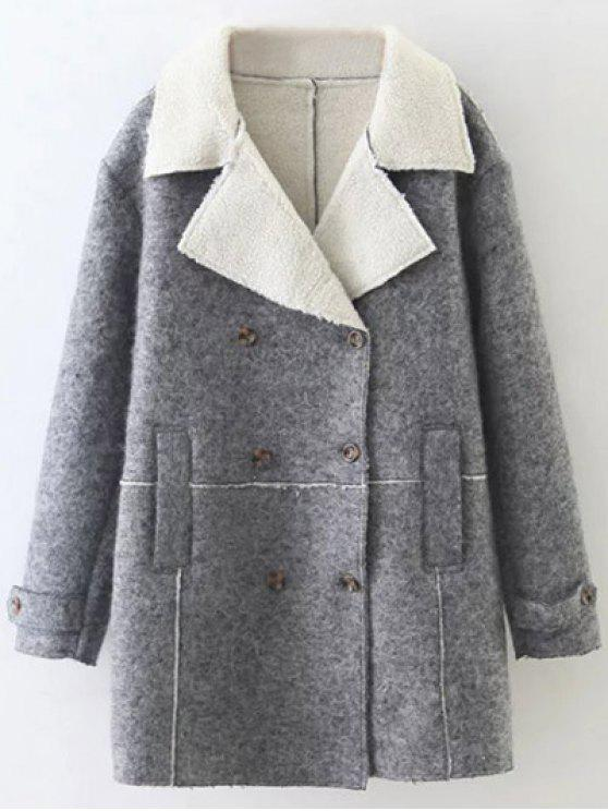 fashion Faux Shearling Lapel Collar Pea Coat - GRAY S