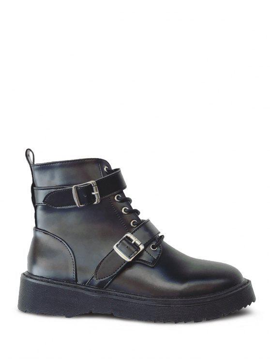 trendy Double Buckle Platform Tie Up Ankle Boots - BLACK 38