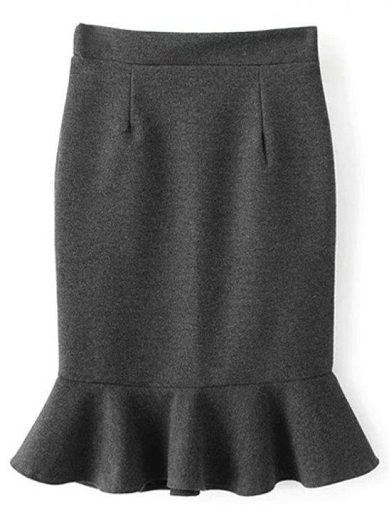 chic High Waist Turmpet Skirt - GRAY S