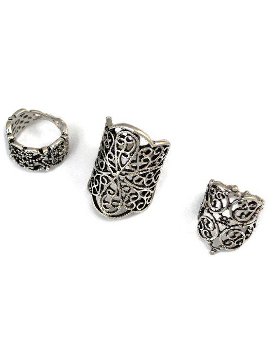fashion Hollow Out Ring Set - SILVER