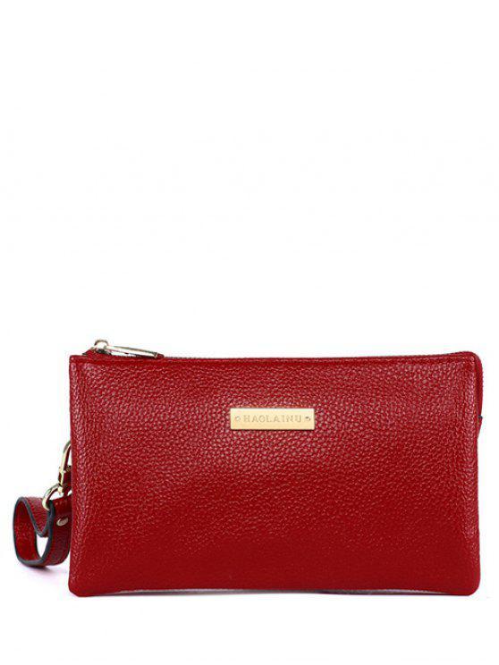 De metal con textura de cuero de la PU del bolso de embrague - Rojo