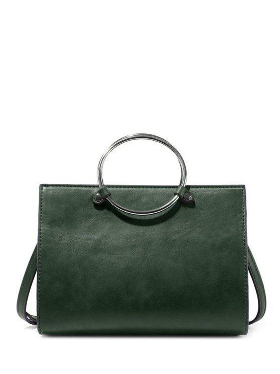 sale Metal Ring PU Leather Handbag - GREEN